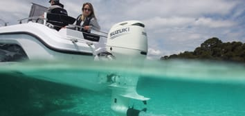 A Suzuki outboard motor on a boat